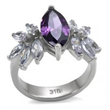 SZ 5-10 Amethyst CZ Stainless Steel Ring