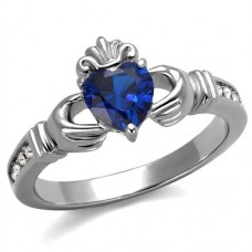 SZ 6-8 London Blue CZ Claddagh Ring