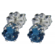 4mm Blue Zircon Spinel Sterling Silver Earrings