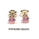 4mm Pink Ice CZ Sterling Silver Earrings