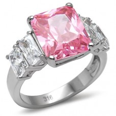 SZ 5-10 Pink CZ Cocktail Ring