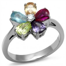 Sz 5. 6. 7. 9. 10. Multi-Color CZ Flower Ring
