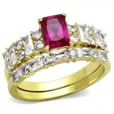 SZ 5-10 Pink CZ Bridal Set