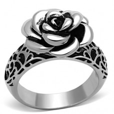3-D Rose Ring Stainless Steel