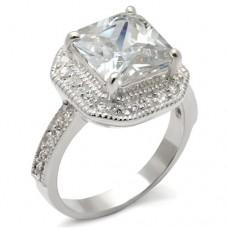 SZ 9-10 Sterling Princess Halo Engagement Ring