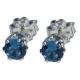 4mm Blue Zircon Spinel Sterling Silver Earrings