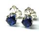 4mm Blue Sapphire Sterling Silver Earrings